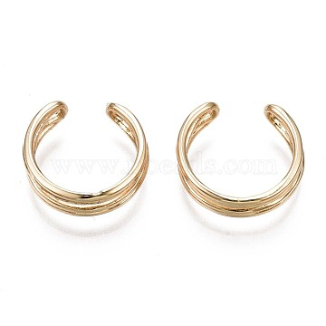 Brass Cuff Earrings, Real 18K Gold Plated, 13x12.5x4.5mm(EJEW-Q764-040)