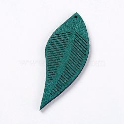 Искусственные замшевые украшения, лист, зелено-синие, 43~44x16~17x1.5 мм, отверстие : 1 мм(FIND-L006-A12)