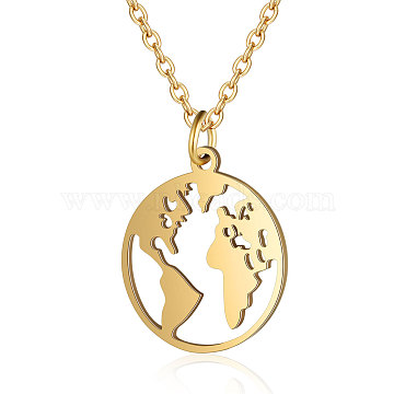 201 Stainless Steel Pendant Necklaces, with Cable Chains, Earth, Golden, 15.7 inches(40cm); 1.5mm; Pendant: 20x17.5x1mm(NJEW-T009-JN136-40-2)