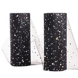 Filet à paillettes, Tissu à carreaux en tulle pour la fabrication de jupe, noir, 6'' (15 cm); environ 25 mètres / rouleau (22.86 m / rouleau)(OCOR-BC0008-40)