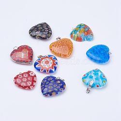 main pendentifs en verre millefiori, avec les conclusions de fer, cœur, platine, couleur mélangée, 24~29.5x23~25x6~7 mm, trou: 1.5~3.5x1.5~5 mm(X-LK-XCP0000-01)