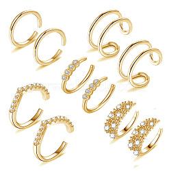 boucles d'oreilles manchette en laiton zircon cubique micro pavé, or, 13.2x13x1.1 mm, 5 PCs / ensemble(EJEW-G270-01G)