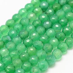 Natural Agate Bead Strands, Round, Faceted, Dyed & Heated, LimeGreen, 4mm, Hole: 1mm; about 95pcs/strand, 14.5inches