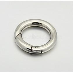 Anneau lisse 304 porte-ressort en acier inoxydable, o bagues, mousquetons, couleur inoxydable, 17x3mm(STAS-E073-06-B)