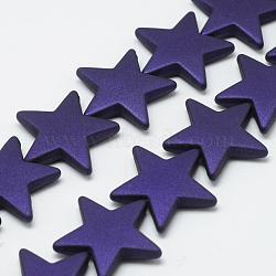 Chapelets de perles en acrylique de style caoutchouté, étoiles, darkslateblue, 26x27.5x5.5mm, Trou: 1.5mm(MACR-S857-02)