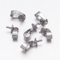 304 pendentifs à clous en acier inoxydable, pour la moitié de perles percées, 12x4mm, pin: 1 mm, Trou: 5.5x2.5mm(X-STAS-E031-1)