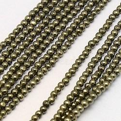 """Chapelets de perles de pyrite naturelle , rond, 2mm, trou: 1mm; environ 200 pcs/chapelet, 15.74""""(G-L031-2mm-01)"""