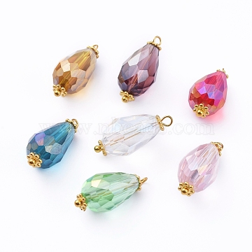 Electroplate Faceted Glass Pendants, with Alloy Flower Daisy Spacer Beads and Brass Findings, Teardrop, Golden, Mixed Color, 20~21x9.5mm, Hole: 1.5mm(X-PALLOY-JF00453-M)