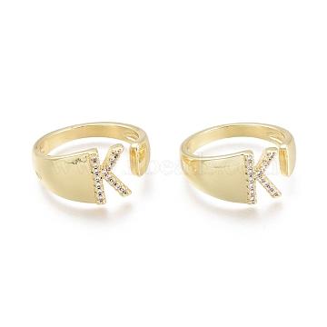 Brass Micro Pave Clear Cubic Zirconia Cuff Rings, Open Rings, Letter, Letter.K, Size 5, Inner Diameter: 16mm; K: 9.5x6mm(RJEW-F103-13K-G)