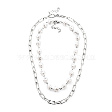White Plastic Imitation Pearl Beaded Necklaces & Iron Paperclip Chain Necklaces Sets, with 304 Stainless Steel Lobster Claw Clasps, Stainless Steel Color, 18.3 inches(46.5cm) & 14.6 inches(37cm), 2pcs/set(NJEW-JN03059)