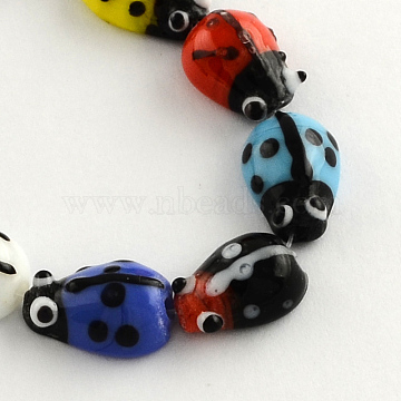 Ladybug Handmade Lampwork Beads Strands, Mixed Color, 15x10x7mm, Hole: 1.5mm, about 20pcs/strand, 11.8 inches(X-LAMP-R004-04)