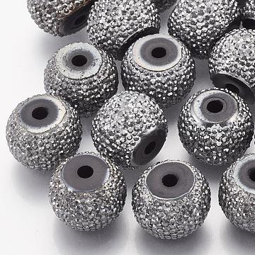 12mm Gray Rondelle Resin+Rhinestone Beads