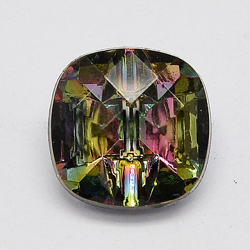 Taiwan Acrylic Rhinestone Buttons, Faceted, 1-Hole, Square, Colorful, 13x13x7mm, Hole: 1mm(BUTT-F018-13mm-13)