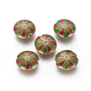 Alloy Enamel Beads, Flat Round, Light Gold, Olive, 13.5~14x5.3mm, Hole: 1.4mm(ENAM-J645-02KCG)