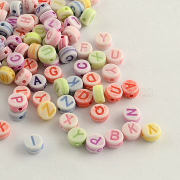 Craft Style Colorful Acrylic Beads, Flat Round with Initial, Mixed Letters, Mixed Color, 7x4mm, Hole: 2mm; about 340pcs/50g(X-MACR-Q157-M12)