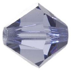 Perles de verre tchèques, facette, Toupie, lt.slateblue, 6 mm de diamètre, Trou: 0.8mm, 144 pcs / brut(302_6mm539)
