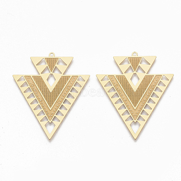 304 Stainless Steel Pendants, Triangle, Golden, 45x38x0.5mm, Hole: 1.6mm(X-STAS-S079-105)