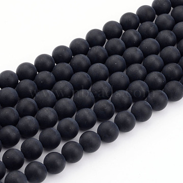 Natural Black Agate Bead Strands, Frosted, Round, 4mm, Hole: 1mm; about 92~95pcs/strand, 15 inches(X-G-H056-4mm)