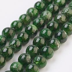 "Brins de perles de diopside vert naturel, rond, 8.5mm, trou: 1mm; environ 48 pcs/chapelet, 16.1"" (40.8 cm)(G-F568-117-8mm)"
