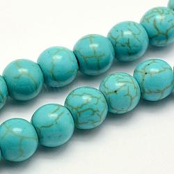 """Chapelets de perles en turquoise synthétique, teint, rond, turquoise, 6x5~5.5mm, trou: 1mm; environ 66 pcs/chapelet, 14.5"""" (37 cm)(X-TURQ-F007-01B-6mm)"""