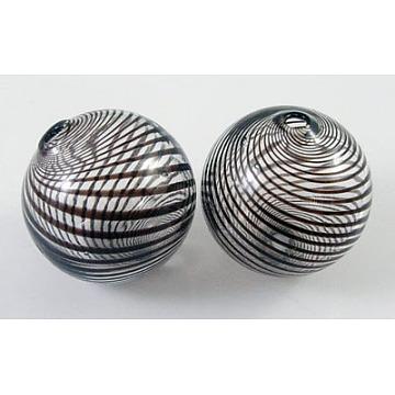 billes de globe en verre soufflé à la main, arrondir, noir, 40 mm, trou: 2 mm(X-DH003Y-40mm-2)