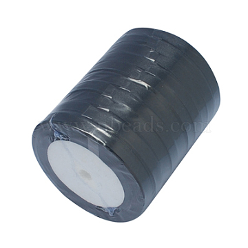 Single Face Satin Ribbon, Polyester Ribbon, Black, 3/8 inch(10mm) wide, 25yards/roll(22.86m/roll), 10rolls/group, 250yards/group(228.6m/group)(RC011-39)