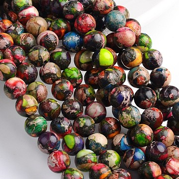 Dyed Natural Imperial Jasper Round Beads Strands, Colorful, 10mm, Hole: 1mm, about 39pcs/strand, 16 inches.(X-G-M274-06-10mm)