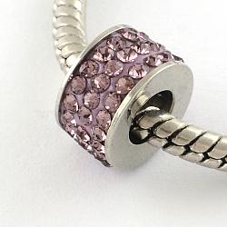 Chapelets de perle avec grand trou de colonne en 316 acier inoxydable, avec argile polymère strass, améthyste claire, 10x6mm, Trou: 5mm(STAS-R082-AA081-8)