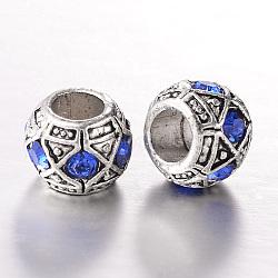 Perles européennes en alliage plaqué argent antique avec strass, perles de rondelle avec grand trou , saphir, 10x8mm, Trou: 5mm(CPDL-J031-05AS)