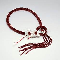 "Fleurs de perles de verre colliers de lasso, avec perle et coquille, DarkRed, 31.4""(NJEW-P102-37A)"