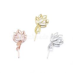 925 pince à glaçons en argent sterling avec pince à glace, lotus, couleur mélangée, 19 mm, trou: 2x3 mm, pin: 0.6 mm(STER-I017-083)