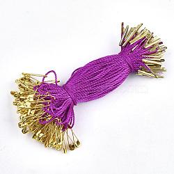 Ценник одежды повесить, полипропиленовый шнур, с предохранительной булавкой и застежкой, золотые, фуксиново-красные, 120x1 мм; булавка: 20x5x2 мм, булавка: 0.5 мм; барная застежка: 16x2x1.5 мм; около 1000 шт. / пакет(CDIS-T001-22B-G)