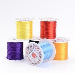 chaîne de cristal élastique plat, fil de perles élastique, pour la fabrication de bracelets élastiques, couleur mélangée, 0.8 mm; 10 m / rouleau, 25 rouleaux / sac(EW-S001-M)
