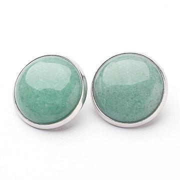 Natural Green Aventurine Brass Clip-on Earrings, Flat Round, Platinum, 14~15x12~13mm(EJEW-A051-A009)