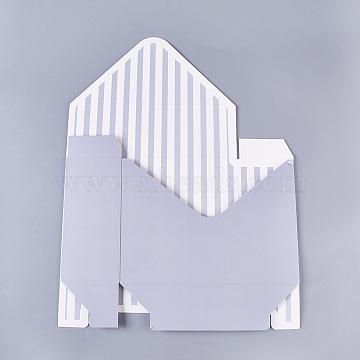 Paper Small Floral Box, Folding Carton Gift Box, Jewelry Box, Stripe and Dot, Dark Gray, 41x31x0.2cm(CON-WH0040-02)