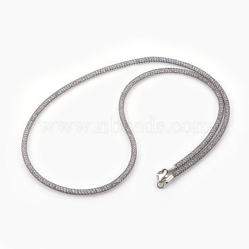 Brass Mesh Chain Necklaces, with Glass Beads inside, Clear, Gunmetal, 20.5~21 inches(52~53.5cm)(NJEW-F241-01B-C)