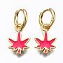 Camellia Leaf Brass Earrings(EJEW-T014-28G-04-NF)