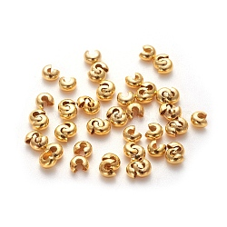 Iron Crimp Beads Covers, Cadmium Free & Lead Free, Golden Color, Size: About 4mm In Diameter, Hole: 1.5~1.8mm(X-IFIN-H029-G)