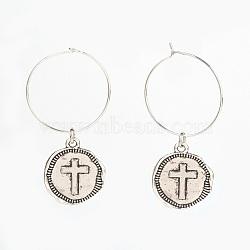 подвески / серьги-кольца из тибетского сплава, с медными кольцами, плоские круглые с крестом, старинное серебро и серебро, 51 mm; контактный: 0.6 mm(EJEW-JE02775-01)