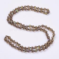 """Синтетические лунные камни из бисера многоцелевые ожерелья / браслеты, три-четыре петли браслеты, круглые, верблюжие, 36.2"""" (92 см)(NJEW-K095-C02)"""