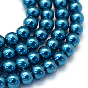Baking Painted Pearlized Glass Pearl Round Bead Strands, Cadet Blue, 8~9mm, Hole: 1mm; about 105pcs/strand, 31.4 inches(X-HY-Q330-8mm-06)