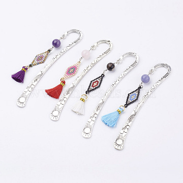 Tibetan Style Alloy Bookmarks/Hairpins, with Gemstone Beads and Seed Beads and Nylon Tassels, Antique Silver, 122x22x3mm, pendant: 85x12x10mm(AJEW-JK00131)