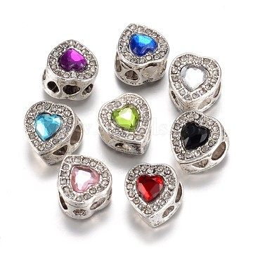 Alloy European Beads, with Rhinestones, Large Hole Beads, Heart, Antique Silver, Mixed Color, 13x11.5x9.5mm, Hole: 4.5mm(X-PALLOY-P105-04)