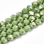Electroplate Opaque Glass Beads Strands, AB Color Plated, Faceted, Round, Yellow Green, 5.5x5.5x5.5mm, Hole: 1mm, about 97~99pcs/strand, 20.87 inches~21.26 inches(53cm~54cm)