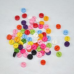 Multicolores bricolage artisanat boutons pour vêtements de poupées, plat rond, bouton de résine, couleur mixte, environ 6 mm de diamètre, Trou: 1mm(X-NNA0VCY)
