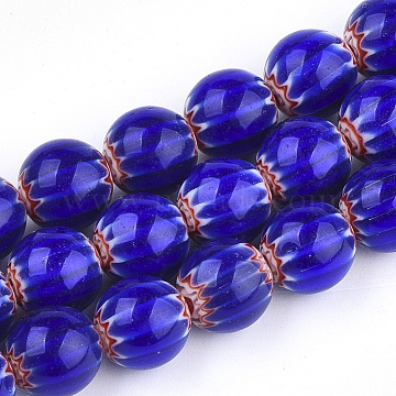 Handmade Millefiori Lampwork Beads Strands, Round, Blue, 10mm, Hole: 1mm; about 38pcs/strand, 14.3 inches(X-LAMP-S191-16)