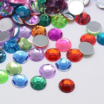 Faceted Half Round/Dome Acrylic Rhinestone Flat Back Cabochons, Mixed Color, 12x3.6mm(X-GACR-YPO12MM-M)