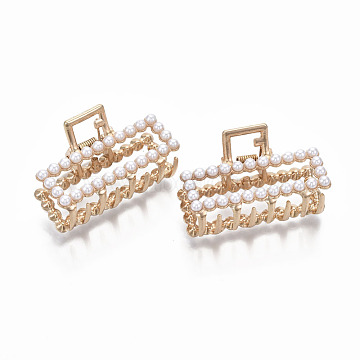 Alloy Claw Hair Clips, with ABS Plastic Imitation Pearl, Rectangle, Light Gold, White, 50x29x30mm(PHAR-T001-06LG)