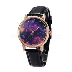 Женские кварцевые нержавеющей стали звездное небо наручные часы, с ПУ кожаный ремешок для часов, чёрные, 240x18~20 мм; голова часов : 47x42x11 мм; лицо часов : 36 мм(WACH-O004-03C)