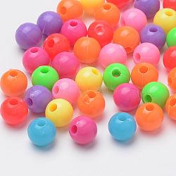 Perles en plastique, arrondir, couleur mélangée, 8x7.5 mm, trou: 2 mm(X-MACR-S272-46)